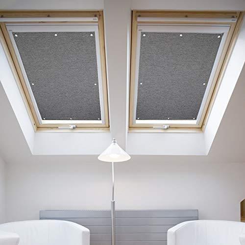 76 * 115cm Grau Dachfenster Rollo Verdunkelung Thermorollo Sonnen & Sichtschutz