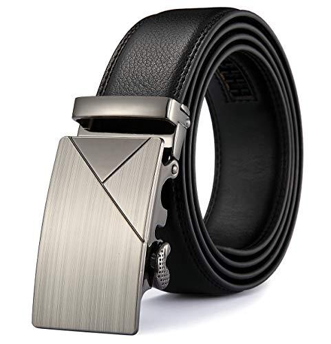 MRACSIY Hombres Cinturón Hebilla Automática Cinturón de Cuero Genuino Negro 120CM (negro-01)