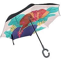 LIANCHENYI Paraguas para Mujer Africana de Color Recto, de resguardo para la Lluvia, tamaño