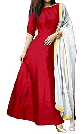 One Pices For Women's Heavy Tapeta Silk Premium Quality Anarkali Dress Material Western Wear Fashionable Women Clothing For Festivels
