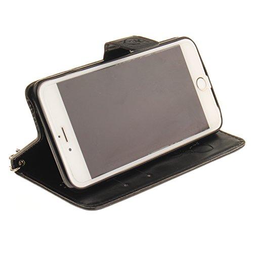 """Für iPhone 6 Plus/6S Plus 5.5"""" Gurt Strap Magnetverschluß Ledertasche Hülle,Für iPhone 6 Plus/6S Plus 5.5"""" Premium Seil Leder Wallet Tasche Brieftasche Schutzhülle,Funyye Stilvoll Jahrgang [Niedlicher Panda,Schwarz"""