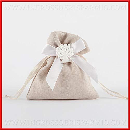Ingrosso e risparmio 12 sacchetti tortora in cotone con fiocco e gessetto bianco albero della vita, portaconfetti per tutti gli eventi, nozze, comunione, battesimo (con confetti rossi)