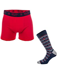 Original Penguin Mens Sock & Boxer Short Gift Set Blue Red-One Pair Boxer Shorts