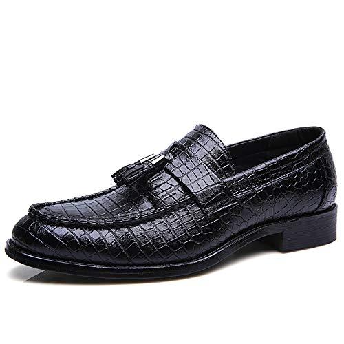 TONGDAUR Herren Business Oxford Casual Klassische Weiche Spitze Snakeskin Fringe Mit Einem Fußpedal Formale Schuhe Halb Lederschuhe für Herren (Color : Schwarz, Größe : 37 EU) -