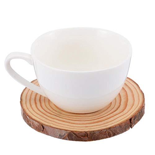 HAHAJY Runde Holz Tasse Matte Holz Scheibe Coaster Wasser Tasse Matte Pad Tee Kaffeetasse Getränkehalter Für Hochzeit Tischdekoration, Dia 3-5 cm -