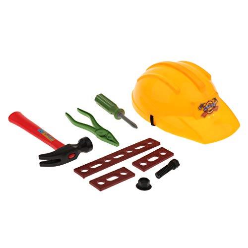 D DOLITY Bauarbeiter Csoplay Spielzeug Set inkl. Helm + Schraubendreher + Hammer + Zange usw. aus Plastik