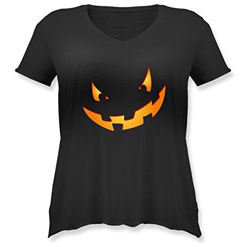 Halloween - Kürbisgesicht klein Pumpkin - XL (50/52) - Schwarz - JHK603 - Weit geschnittenes Damen Shirt in großen Größen mit ()