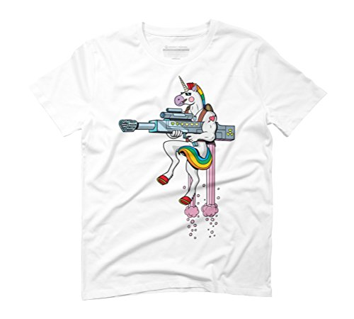 Unicorn Soldier Men's Graphic T-Shirt - Design By Humans White