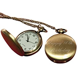 Happy 80th Birthday pocket watch brass effect, personalised / custom engraved in gift box - pwbr
