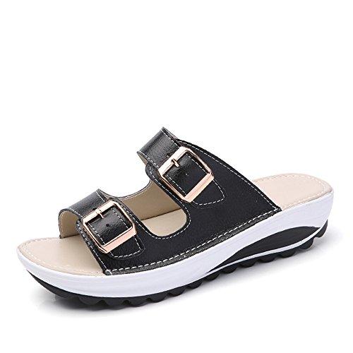 Pantoufles Femme ete Plage Sandales Compensees Boucle Chaussures Vacances Antiderapant Plateforme 4cm Slippers Semelle Epaisse Noir Bleu Orange Rose Blanc Jaune 34-40