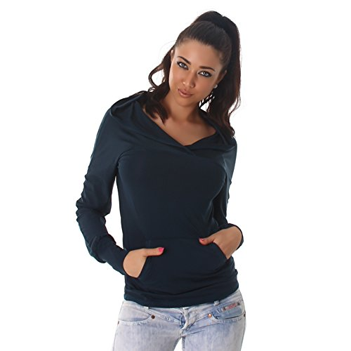 Voyelles Ladies Shirt Pull à capuche Pull à manches longues Sweatshirt Sacs Hip-Hoddie Petrol