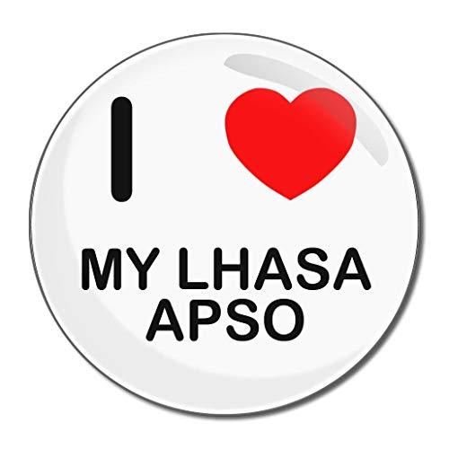 I Love My Lhasa Apso - Miroir compact rond de 77 mm