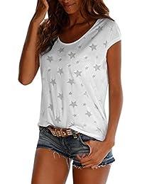 85f00c1581caf Longra Damen T-Shirt Top mit Transparenten Sternen Beachwear Strandshirt  Rundhals Kurzarm Shirt Tops…