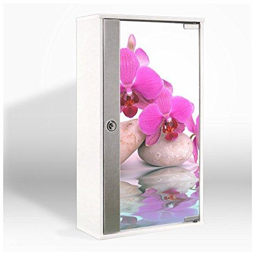 #Medizinschrank mit Glastür und Motiv: Orchidee#