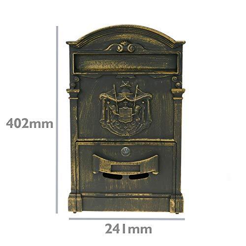 PrimeMatik – Briefkasten Postkasten Retro Antik Vintage metallische Schwarze Oxid für wallmount - 2