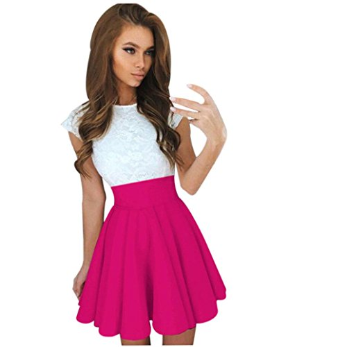 Hot! Damen Kleid Yesmile Frauen Sommer V Neck ärmellose Cocktail Party Kleid Pink Solid Sexy Minikleid über Knie Mini Rock mit Zipper Sommer Mode Party Kleidung Streetwear (L, Hot Rosa) - Hot Rosa Rock