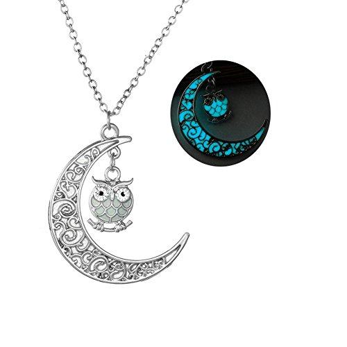 AIUIN 1Pcs Collar de Mujer Colgante en Forma de Luna y Cristal Búho Hueco Collar de Regalo para Niñas Joyería de Mujer (con un Bolso de joyería) (Azul Luminoso)