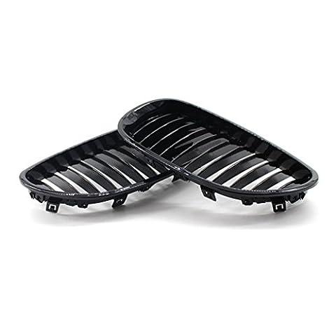 Meisijia Grille avant en plastique de 1 paire ABS pour BMW E60 E61 Série 5 M5 2003-2010 Noir brillant