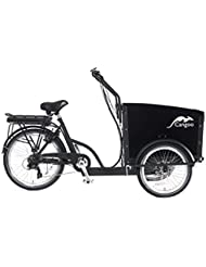 Popal–Cepillo eléctrico bakfiets–cangoo Groovy Corto–6velocidades Shimano–E-Bike–Bicicleta de transporte electrónico Last bicicleta niños transporte, color negro, tamaño Vorne 20 Zoll / Hinten 24 Zoll, tamaño de rueda 24.00 inches