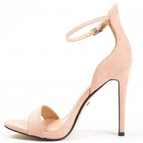 Ideal Shoes - Sandales à talons ouvertes et effet daim Sara Beige