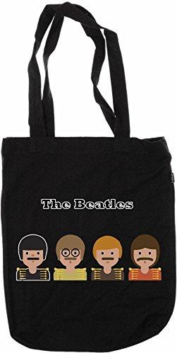 Musik Emoji auf Schwarzen Jutebeutel (Beatles) (Beatles Tasche)
