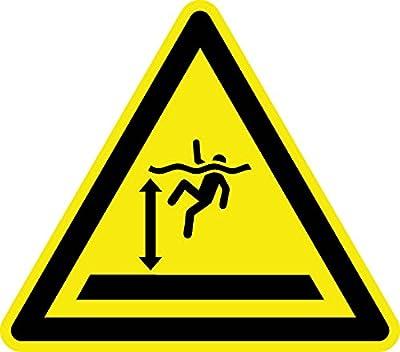 Warnzeichen - Warnung vor tiefem Wasser - Aluminium Selbstklebend