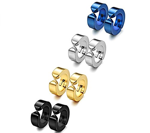 Gadgetsden 4 Pair Colors Huggie Hinged Combo Non-Piercing Clip On Earrings For Men ,Women ,Boys