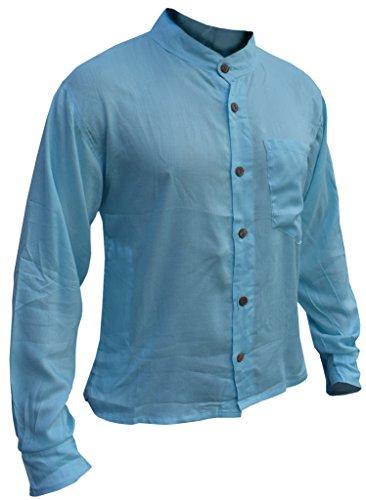 Little Kathmandu Baumwoll Männer Knopf unten Plain Sommer Hemden Baby Blau