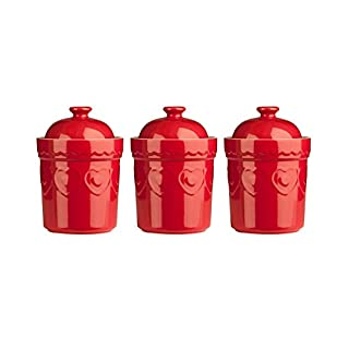 Set Of 3, Red Sweet Heart Design Stoneware Storage Canisters Jars Set - Ideal for Storage Jars for Tea, Coffee, Sugar and or Dry Foods