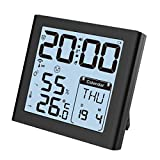 XYNCLK Funkwecker,Wecker Digital Funkuhr mit Temperaturanzeige, Hygrometer Thermometer, Große Zahlen, Komfortstufeanzeige, Batteriebetrieben, 80° LCD Anzeige, Schwarz