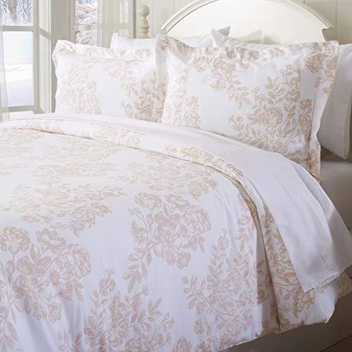 Tolles Bay Home Extra Weich Bedruckt Flanell Bettbezug mit Knopfverschluß. 100% Türkische Baumwolle 3-Teiliges Set mit kissenrollen. Belle Collection Twin Toile - Blush Pink -