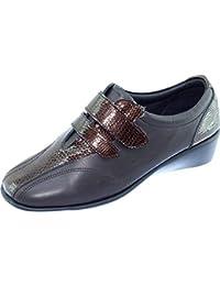 Aerobics Books Derby Velcros Compensé Souple Chaussures Grande Largeur  Confortable Femme Pieds Sensibles Marque Cuir Bronze cf8de9c58033