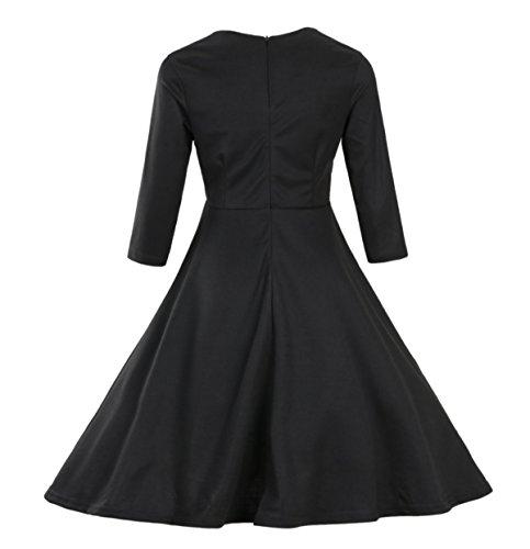 Elegante Vintage Abito Corto Maniche Delle Donne MSNHMU Scollo A V 1950 Pieghe Black