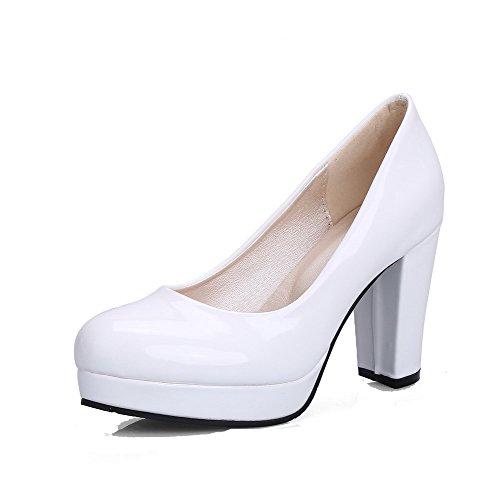 VogueZone009 Donna Tacco Alto Puro Tirare Pelle di Maiale Punta Tonda Ballet-Flats Bianco