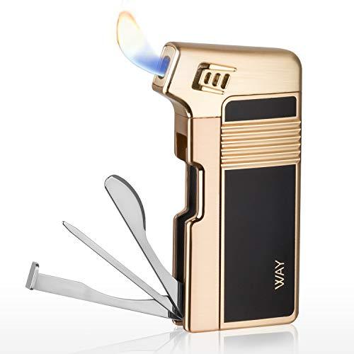 VVAY Pfeifenfeuerzeug, Pfeifen Feuerzeug Gas Butan Nachfüllbar mit Besteck (Gold)