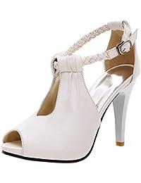COOLCEPT Mujer Moda Al Tobillo Sandalias Peep Toe Tacon de Aguja Zapatos