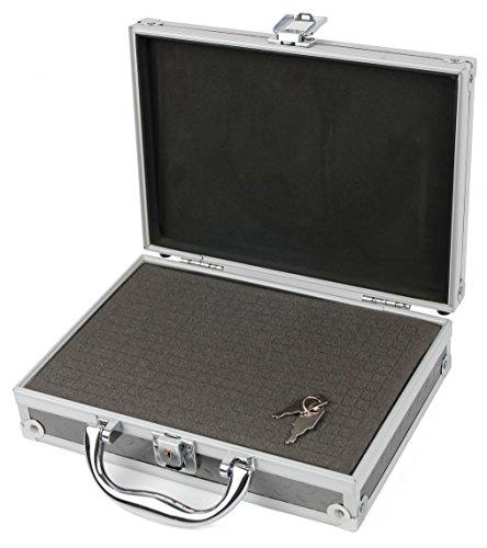 Aluminium Koffer 2 Schlüssel, Schaumstoff-Inlay für ROLLEI Youngstar Actioncam, LEXIBOOK DJ090 sowie eTTgear PP-J52 Kinder Action Kameras