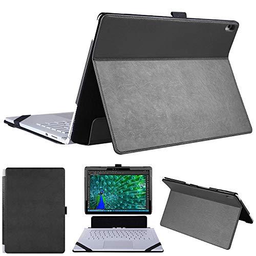 HoYiXi Microsoft Surface Book 2 Hülle Hochwertige PU Leder Schutzhülle Tasche Etui 2 in 1 Kickstand Book Style Abdeckung für Surface Book 13.5 Zoll - Schwarz