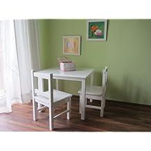 Best-of-JAM- Conjunto de mesa y asientos infantiles (mesa y 2 sillas de madera maciza), color blanco