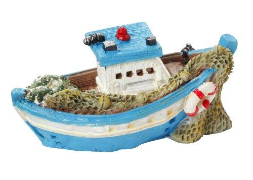 Fischerboot 6,5 cm, blau/weiss (Fischerboot Weißes)