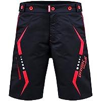 Brisk Bike MTB Cycling Shorts Pantalones cortos, Hombre, Multicolor (Black/Red), M