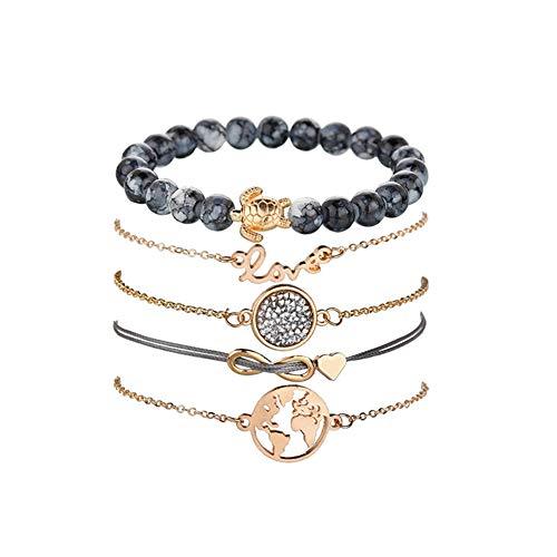Armbänder Damen Set, Dsaren Mehrschichtiges Armband Verstellbare Reizend Perlen Hand Kette Stapelbar Gold Armreifen für Frauen Mädchen Geschenk (Karte und Schildkröte)