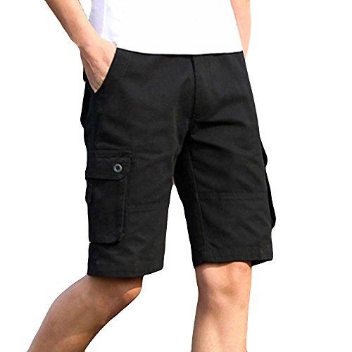UJUNAOR Herren Cargo Hose Cargo Pants Unifarbe Arbeitshose Cargohose Cargopants Shorts(Schwarz,42)