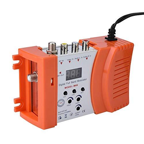 Universal Haus Modulator VHF Digitaler RF Modulator Audio Video TV Konverter Signalkonverter EU Stecker (orange)(Orange) Digital-video-bnc-kabel