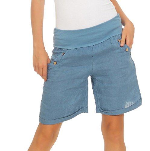 Mississhop 280 Damen Leinenshorts Bermuda lockere Kurze Hose Freizeithose 100% Leinen Shorts mit DREI Knöpfen Sommer Strand Jeansblau XL