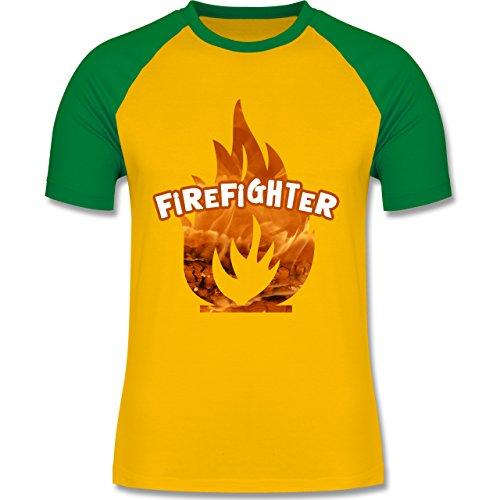 Feuerwehr - Feuer Flammen Firefighter - zweifarbiges Baseballshirt für Männer Gelb/Grün
