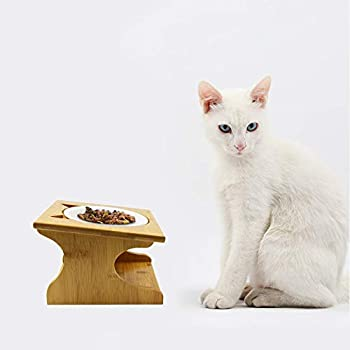 Petilleur Bol pour Chat et Chien Bois Gamelle Haute pour Chat et Chiot avec Support en Bambou (1 Bol, Céramique)