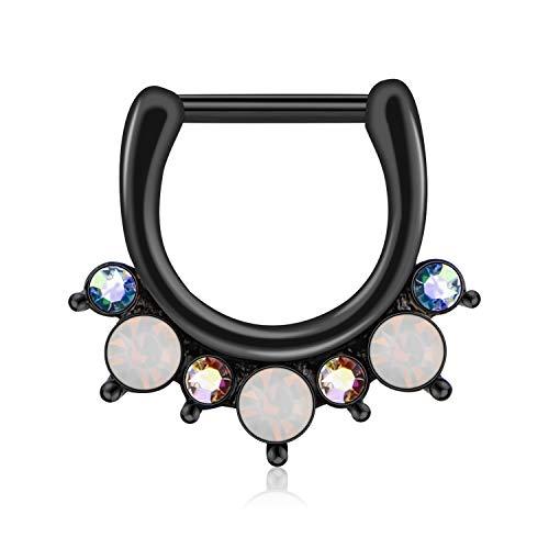 Incaton 16 Gauge Schwarz Segmentring Septum Piercing Ring für Tragus Helix Ohr Nase Lippe Clicker Ring mit Kristalle Opal - 16-gauge-chirurgischem Ohrringe Stahl