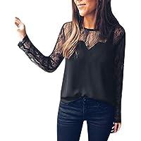 Basic Langarmshirt Damen Bluse Damen Langarm Elegante blusen Damen Sexy Rundhals Pullover Tops Damen schwarz T-Shirt Spitze aushöhlen S-XL,