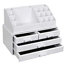 SONGMICS, acrylic cosmetic storage makeup organiser with 4 drawers for storage in the bathroom or bedroom, for lipsticks jewellery, nail polish, sewing thread, in white colour